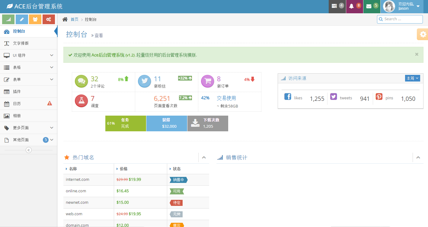 Bootstrap编写ACE后台管理界面模板(扁平化)响应式网站后台模板