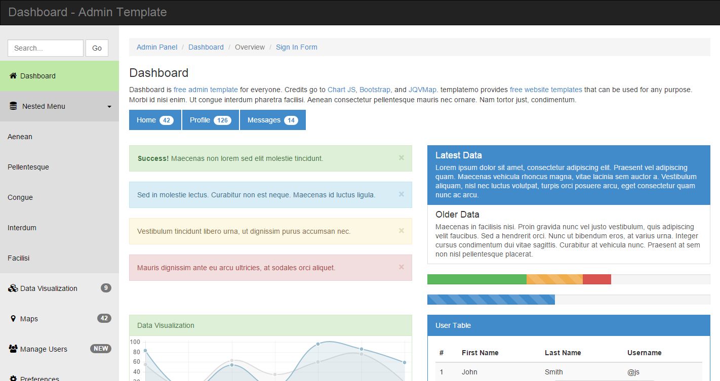 HTML5 Dashboard响应式后台管理模板网站后台模板