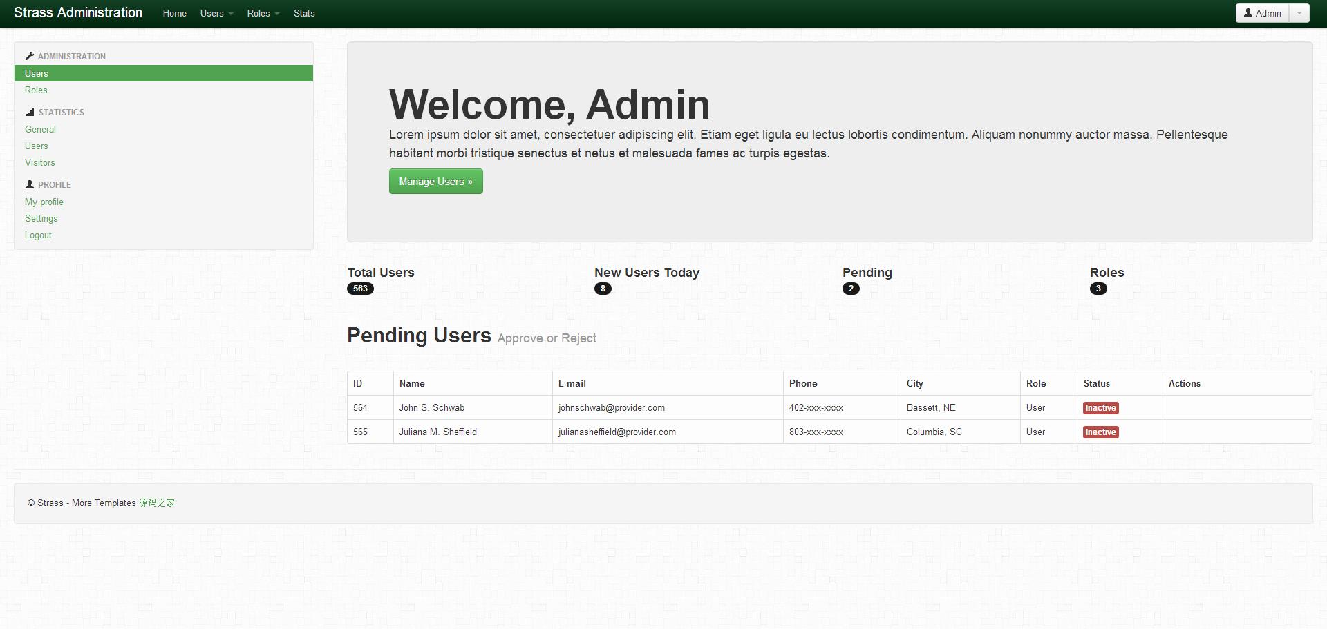 Strass Admin简单Bootstrap后台模板
