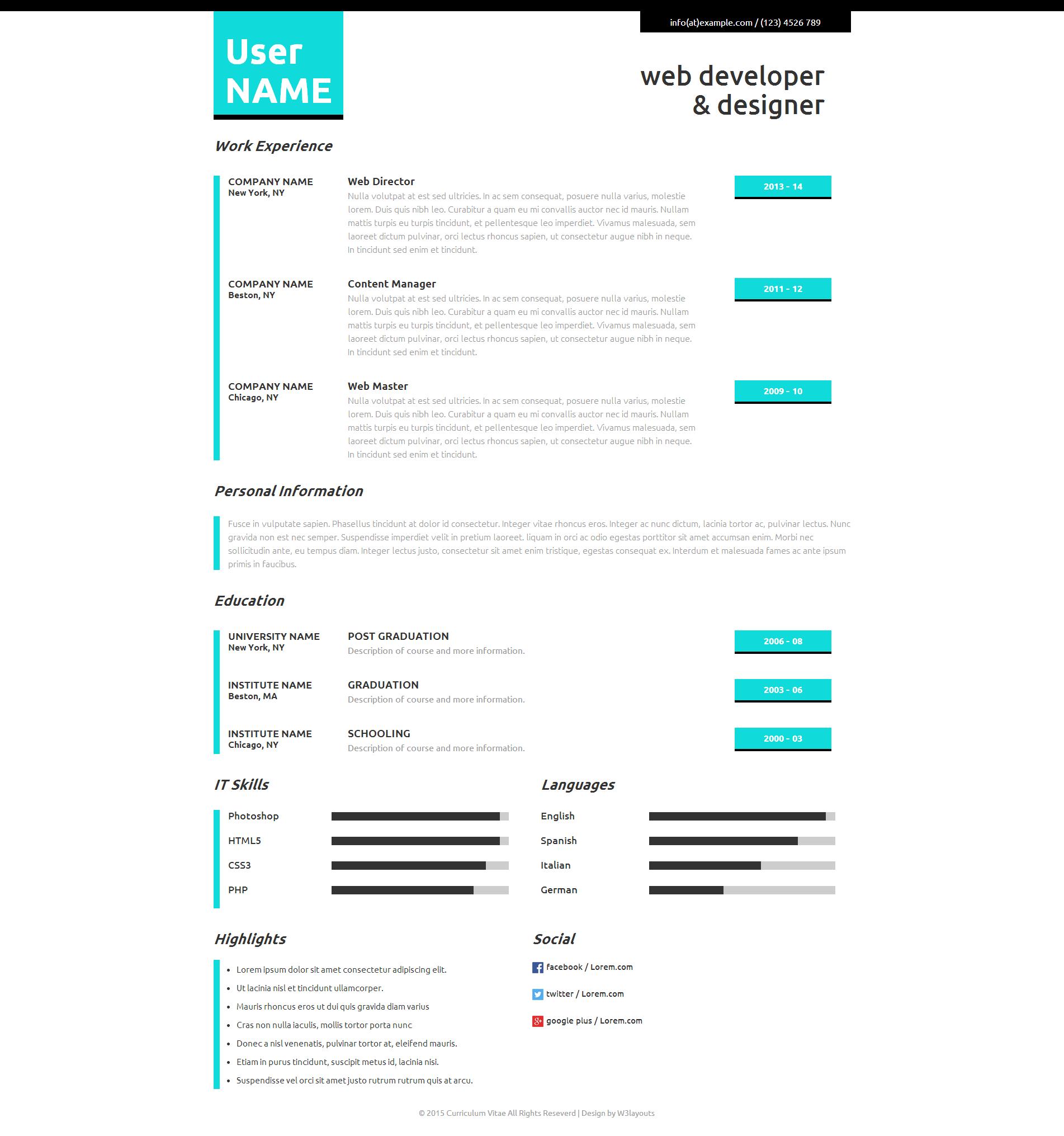 个人履历响应式网页模板