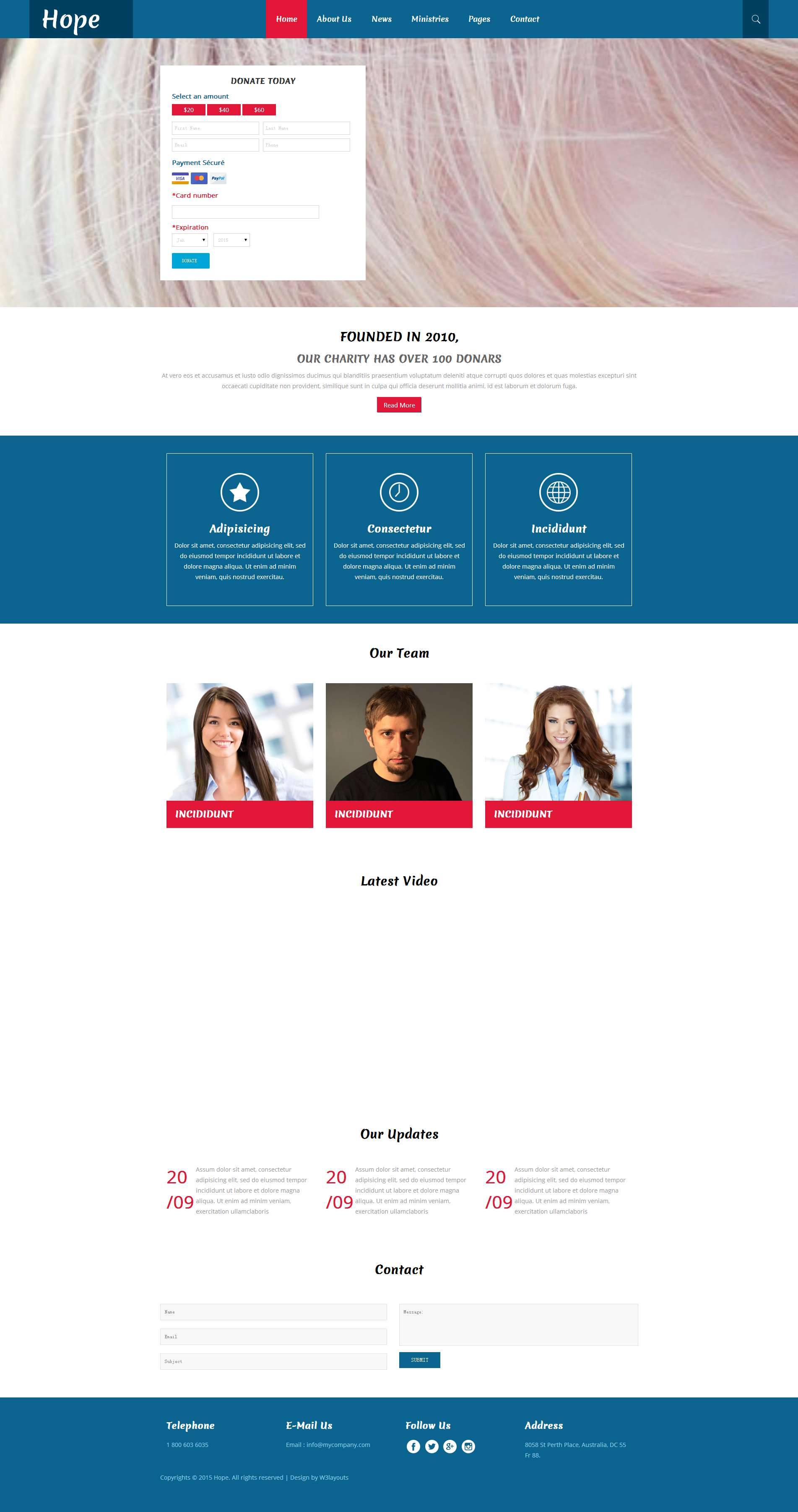 慈善捐助平台响应式网站模板