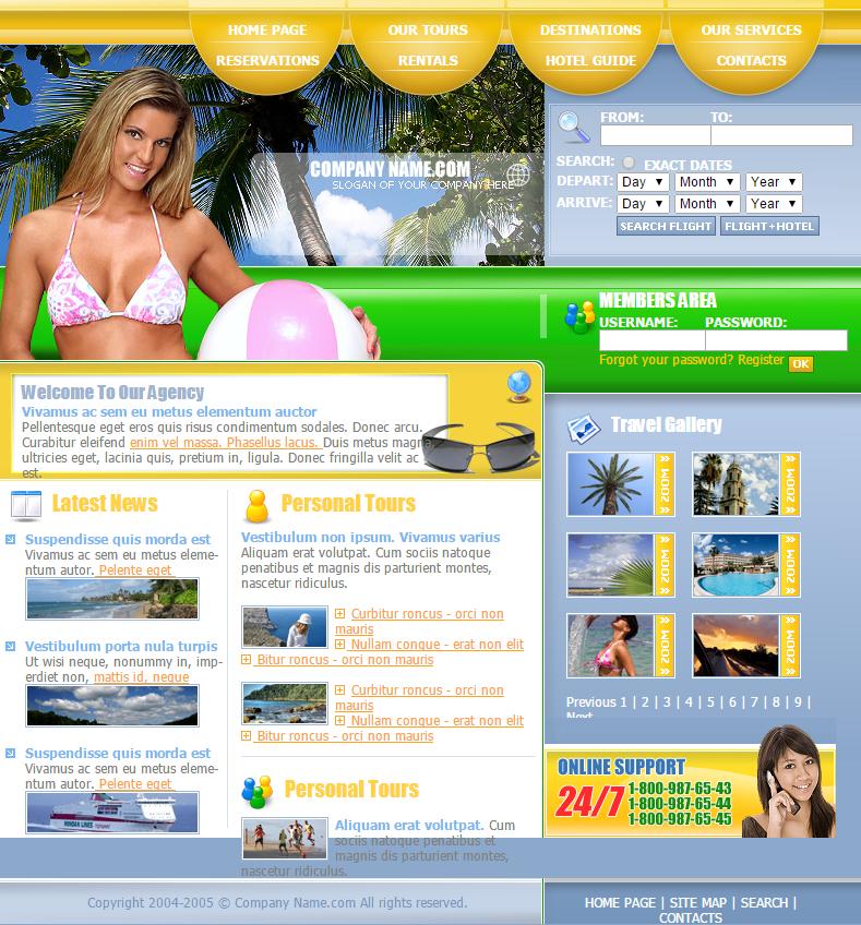 海滩旅行信息查询网页模板