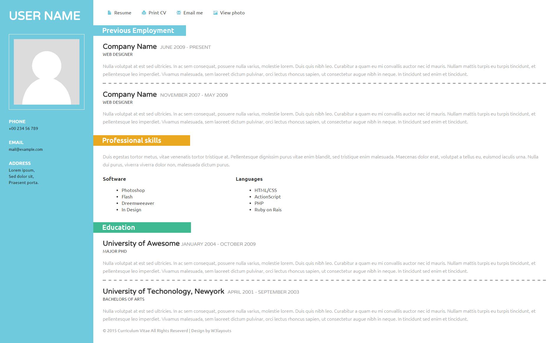 左右二分列个人简历响应式网页简洁模板