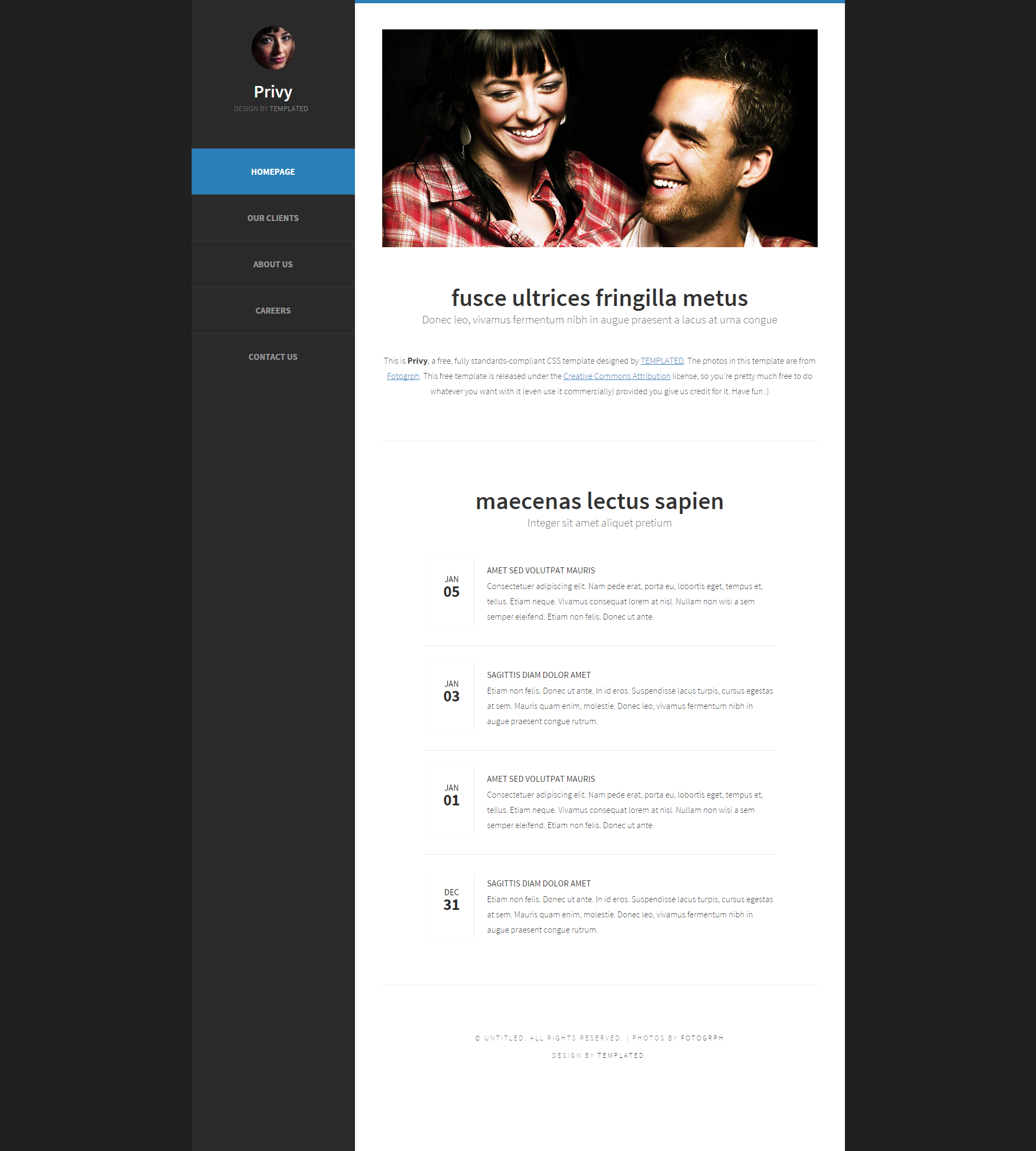 黑白超简洁个性化日志网页模板