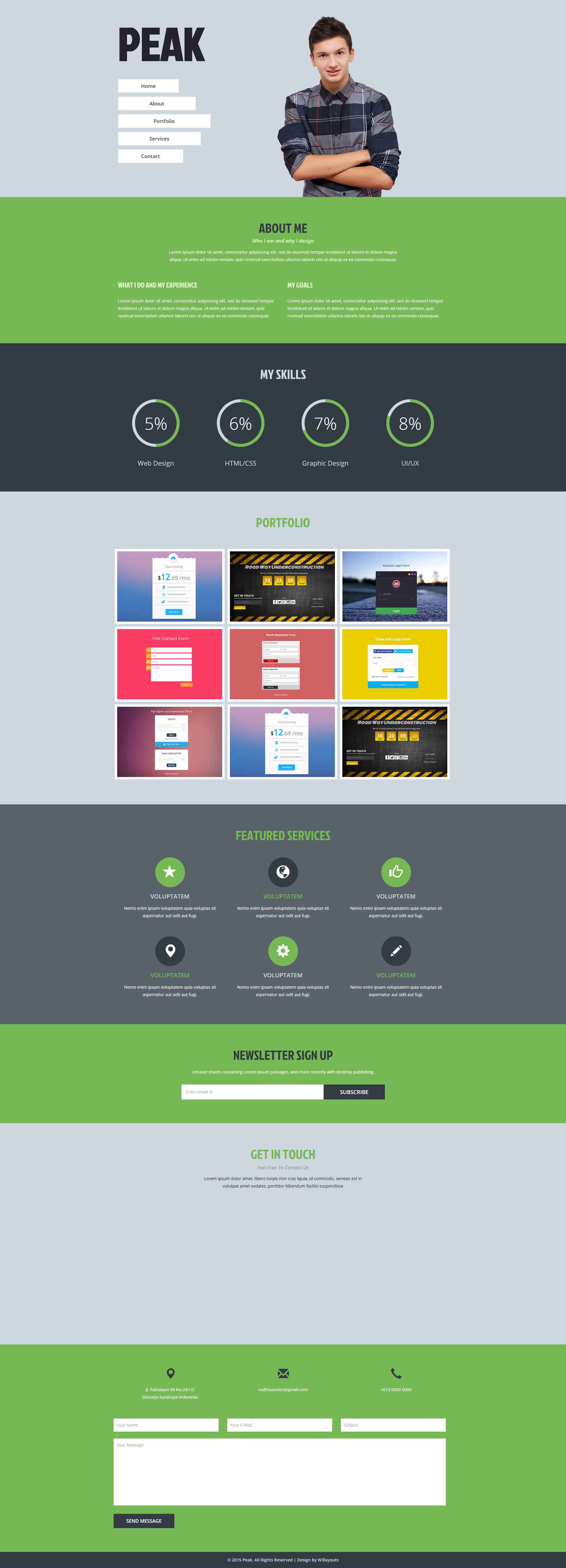 个人作品服务信息响应式网页模板