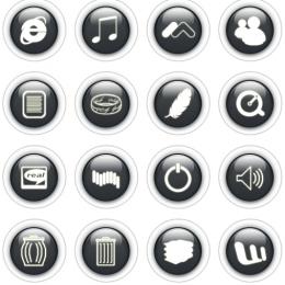 黑色圆形按钮图标 (PNG)