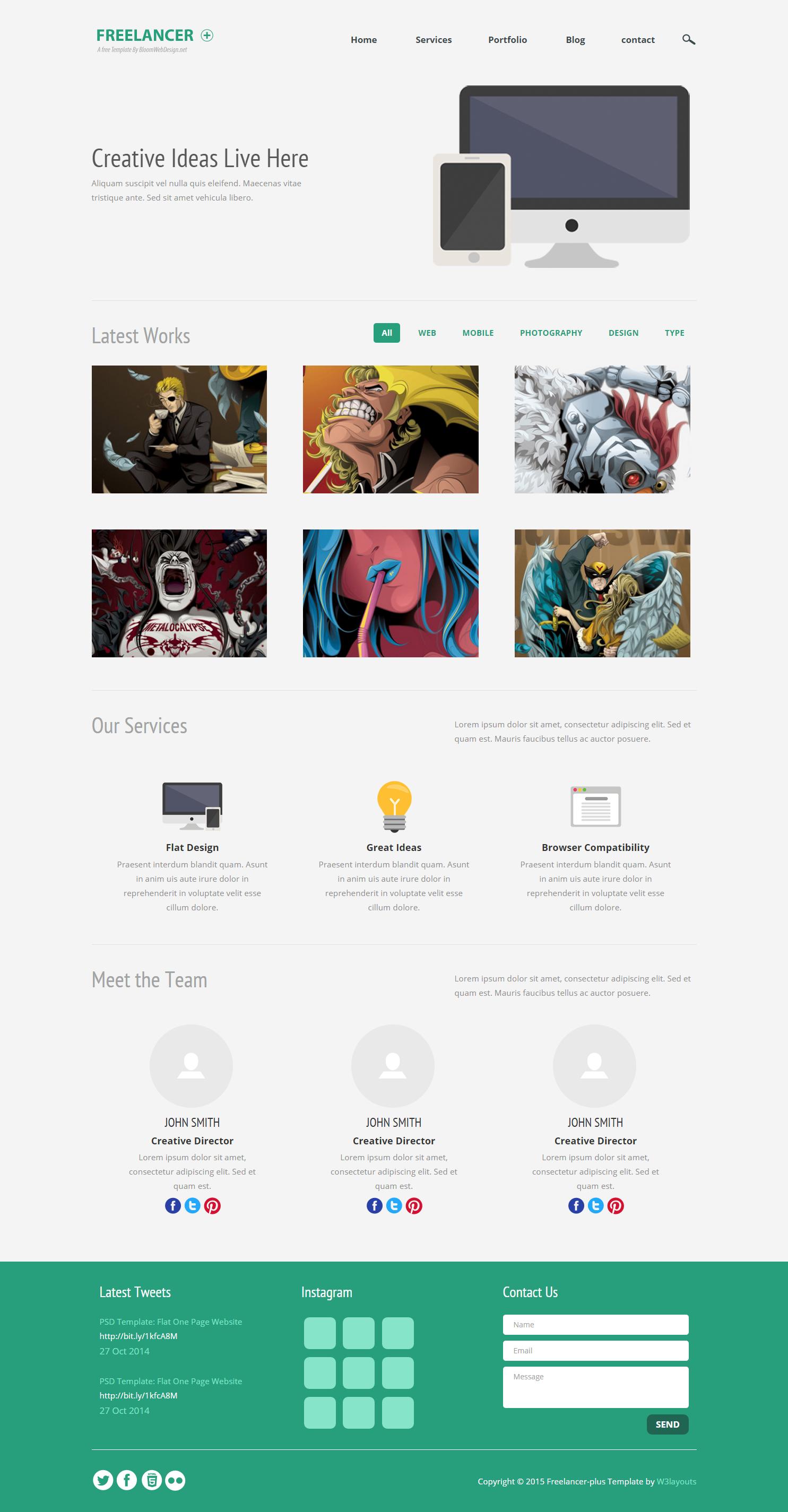 自由职业案例展示响应式网页模板