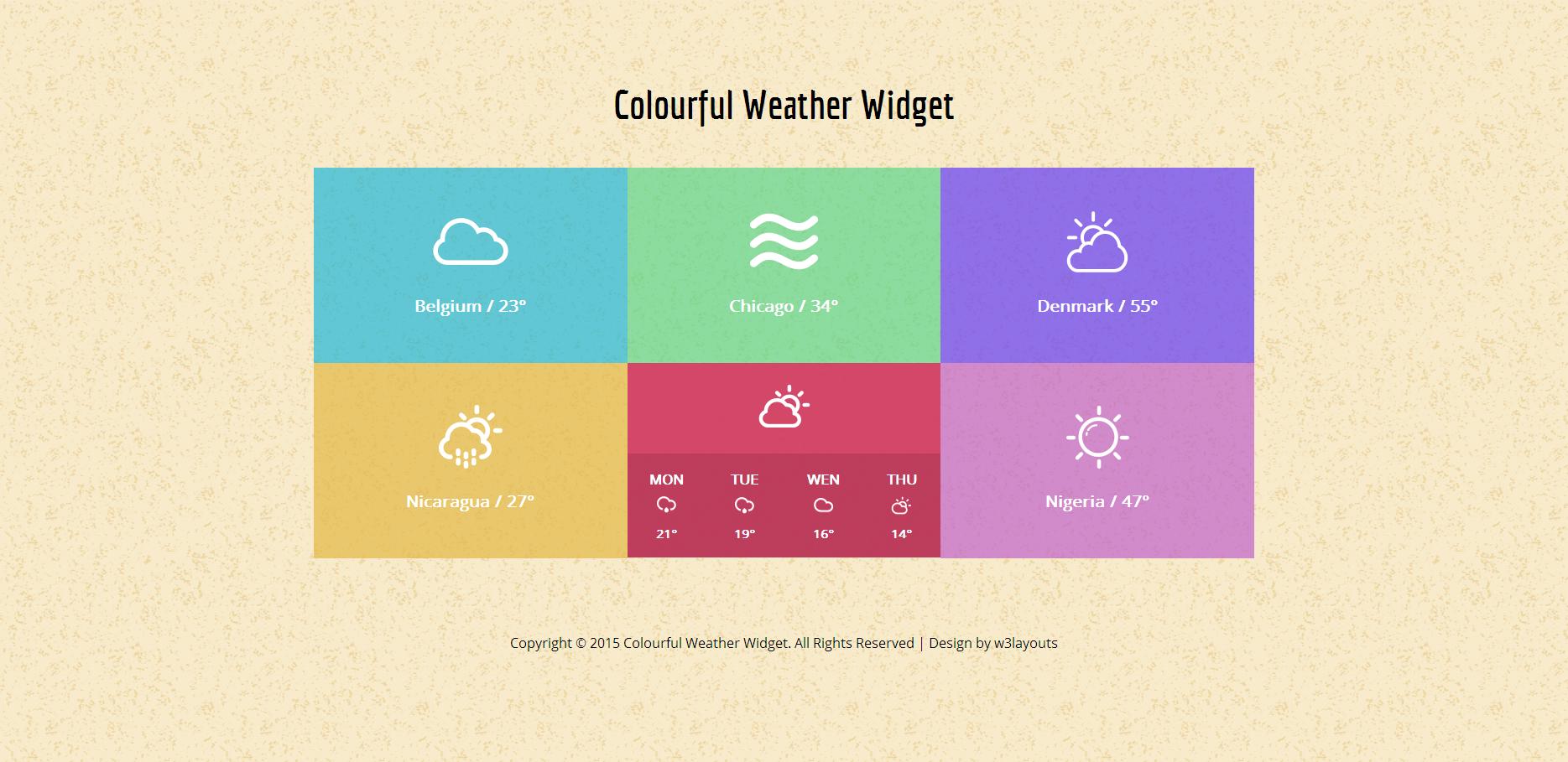 彩色天气预报组件响应式网页模板