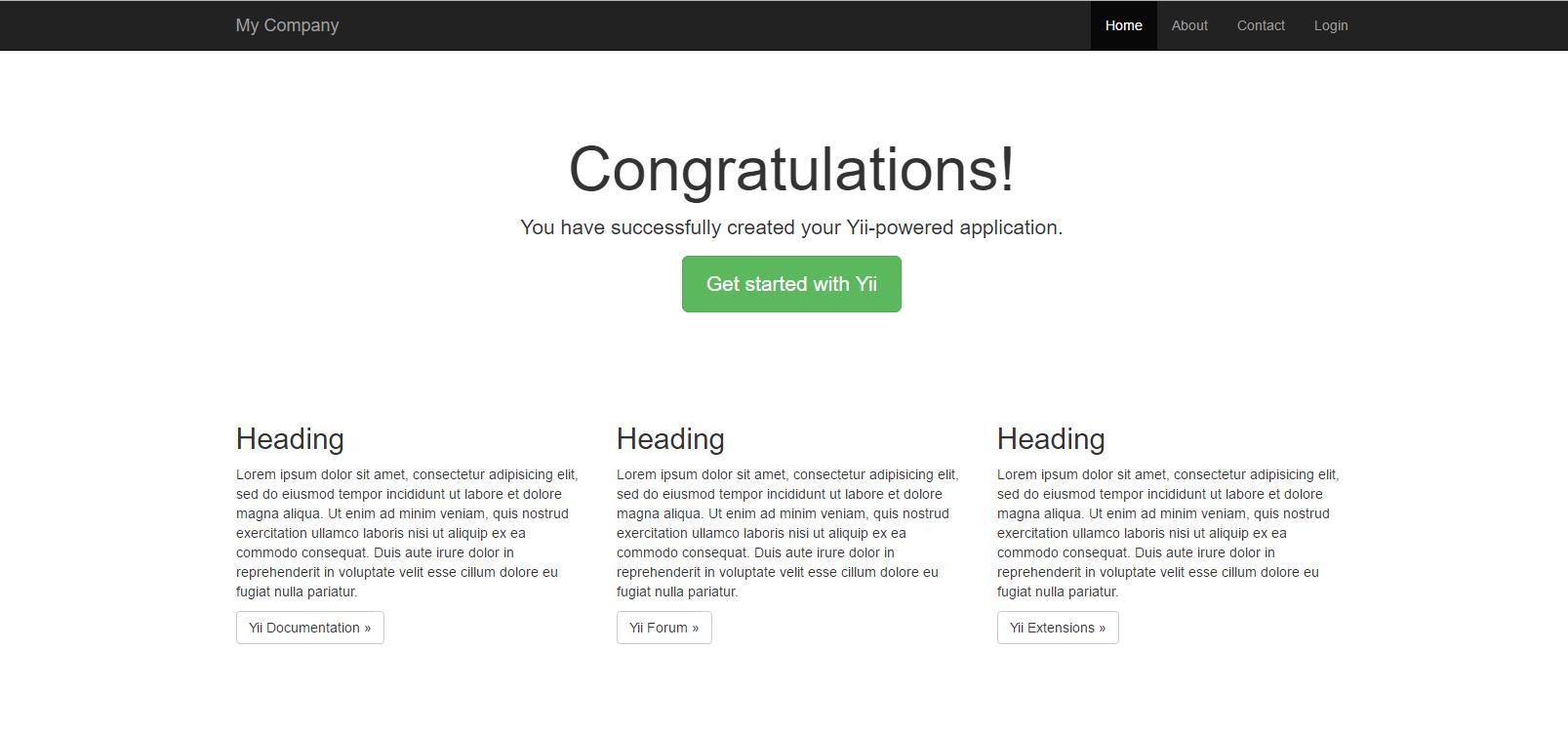 Yii2归档文件安装下载(基本和高级应用程序模板)