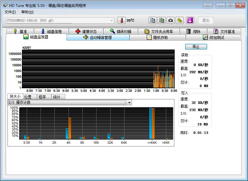 HDTune Pro硬盘检测工具5.5绿色中文版