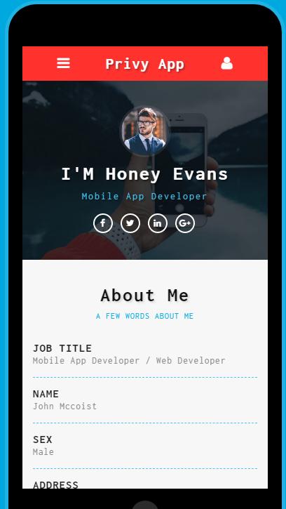 个人信息动态手机网页模板