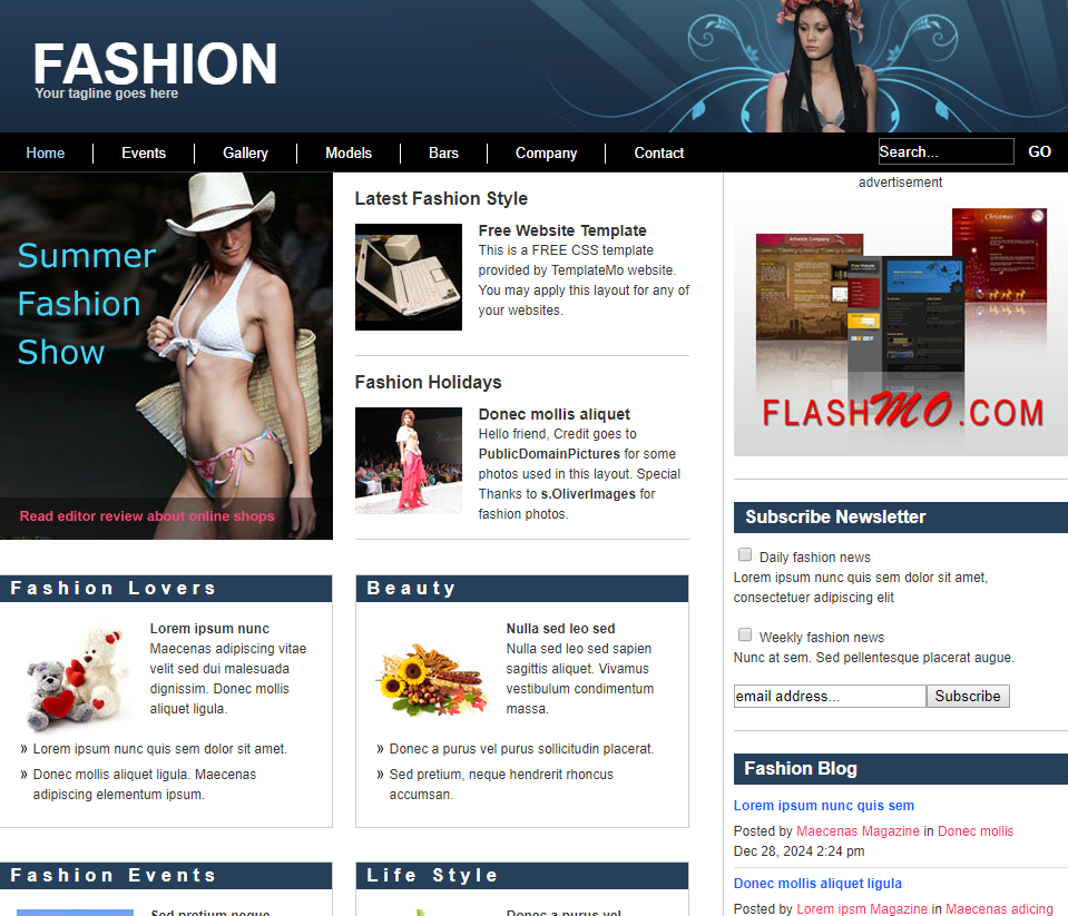 时尚动态信息网页模板