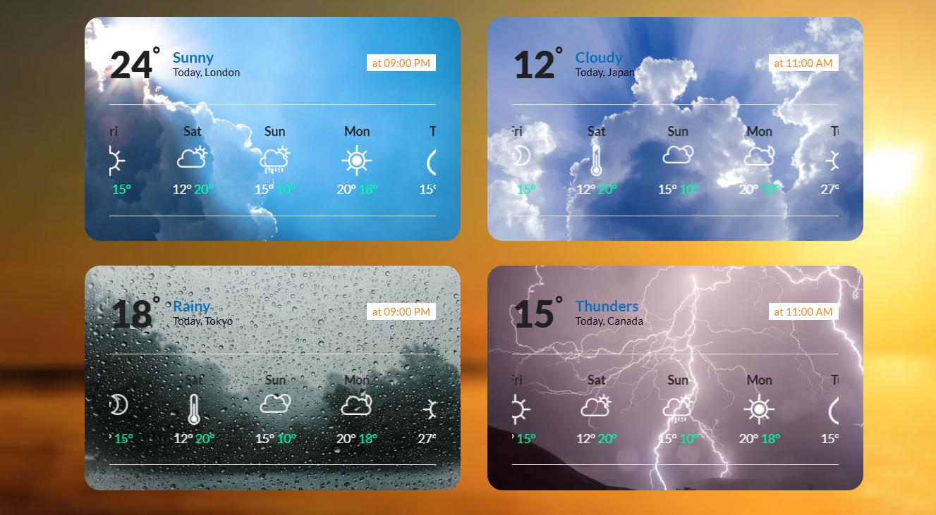 炫酷混合天气插件响应式网页模板