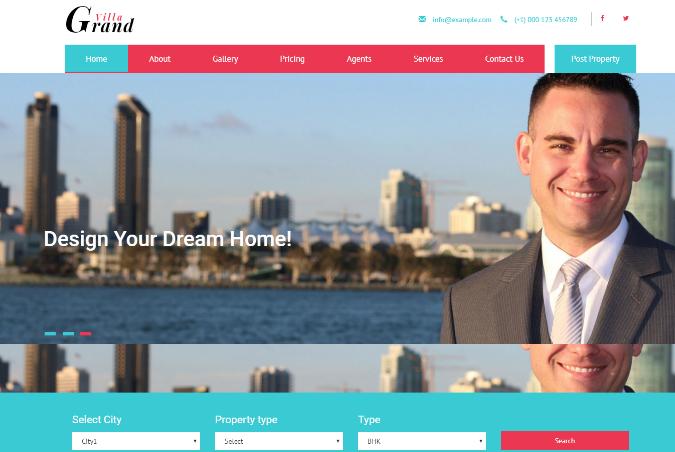 高级房产代理中心响应式网页模板