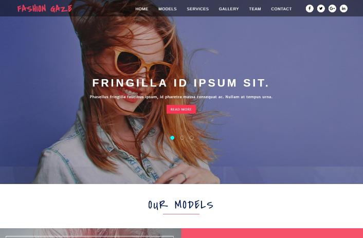 时尚品牌造型展示响应式网页模板
