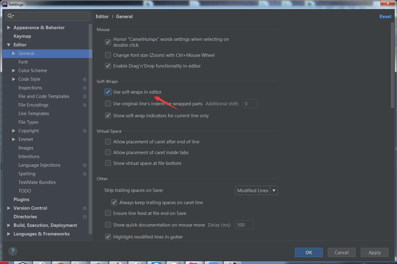 phpstorm设置代码自动换行