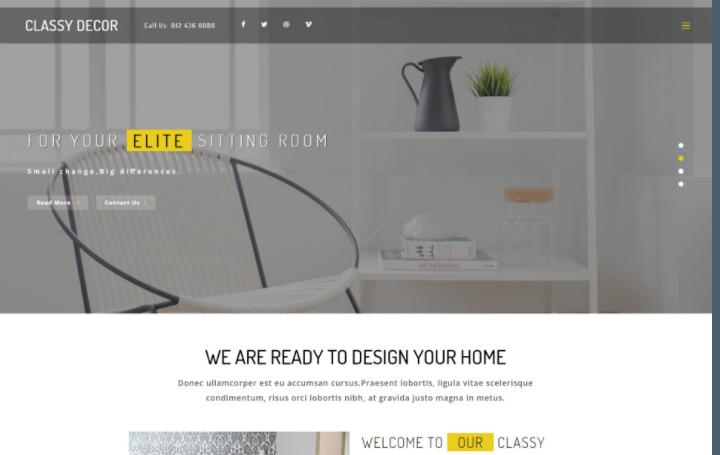 优雅装饰展示响应式网页模板