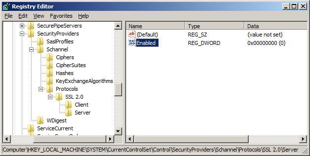 IIS7.0 8.0 下如何禁用SSL 2.0 和 SSL 3.0 协议