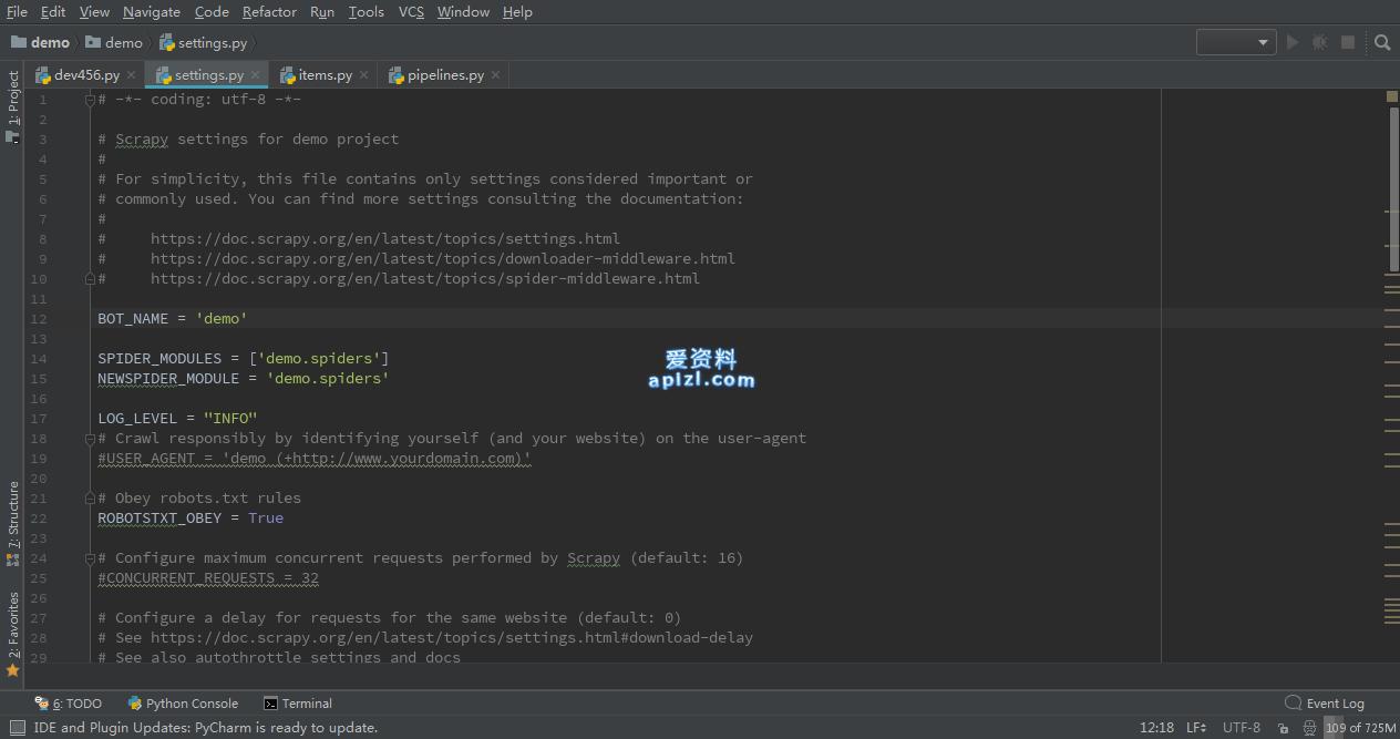 Scrapy 爬虫入门 内建设置参考 Python爬虫教程实战