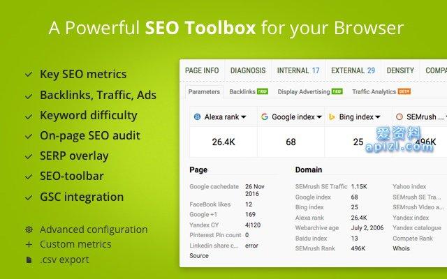 SEOquake 免费SEO审计工具 Chrome 浏览器插件