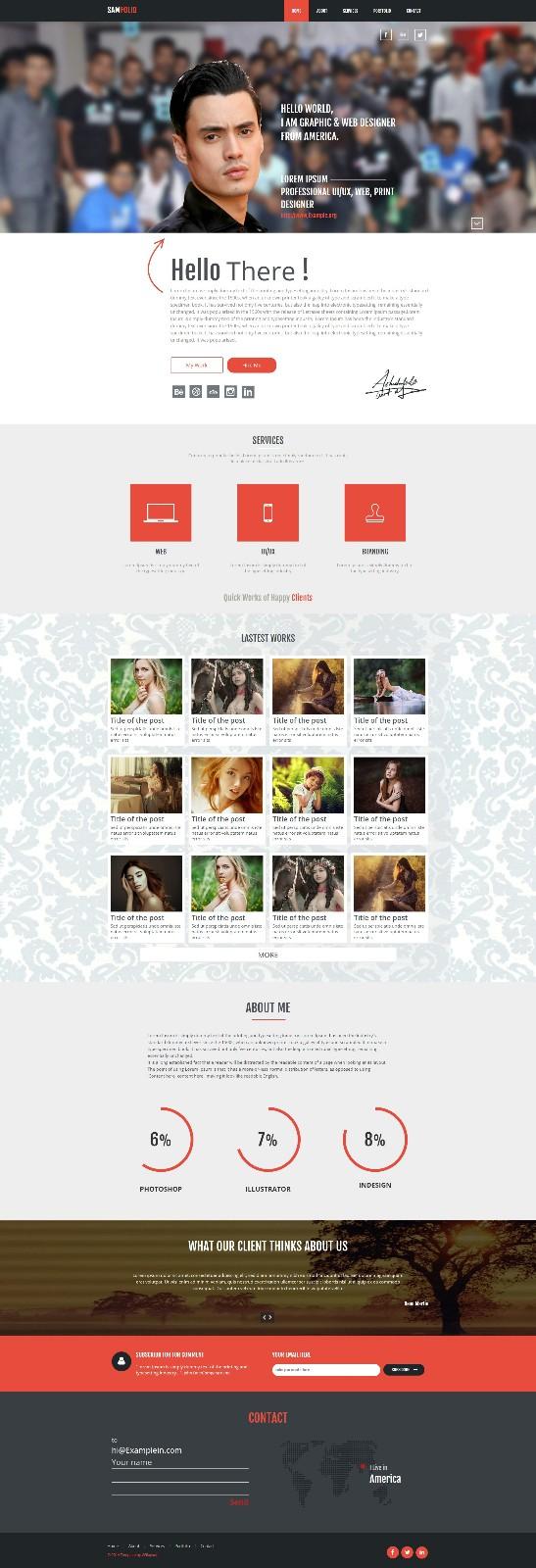 个性团队案例展示单页响应式网页模板